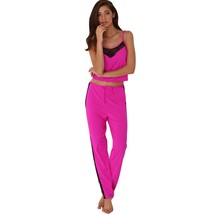 Spaghetti Strap Lace Spliced Drawstring Pajama(ROSE RED XL) - $25.46