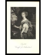 Elizabeth Countess of Northumberland 1851 Antique Art Print Charles II C... - $24.99