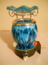 PLUG-IN Blown Glass Blue Electric Fragrance Oil Burner Lava Tart Warmer - $28.99
