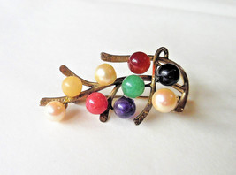 MING'S VTG Multi Color Gems Pearls Sterling Gold Vermeil Brooch Pin - $145.00
