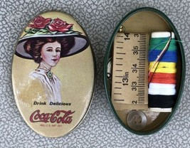 """COCA-COLA Oval Shaped Tin Sewing Kit Advertising Collectible 2.75"""" Thread Tape - $4.95"""