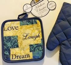 INSPIRATIONS OVEN MITT SET 2pc Mitt Potholder Love Laugh Dream Blue Beige image 3
