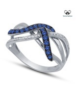 White Gold Plated 925 Silver Intertwined Wedding Ring Round Cut CZ & Sap... - $1.690,10 MXN