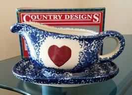 Country Red Heart 2 Piece Gravy Boat & Saucer Serving Set Blue & White NIB - $9.85