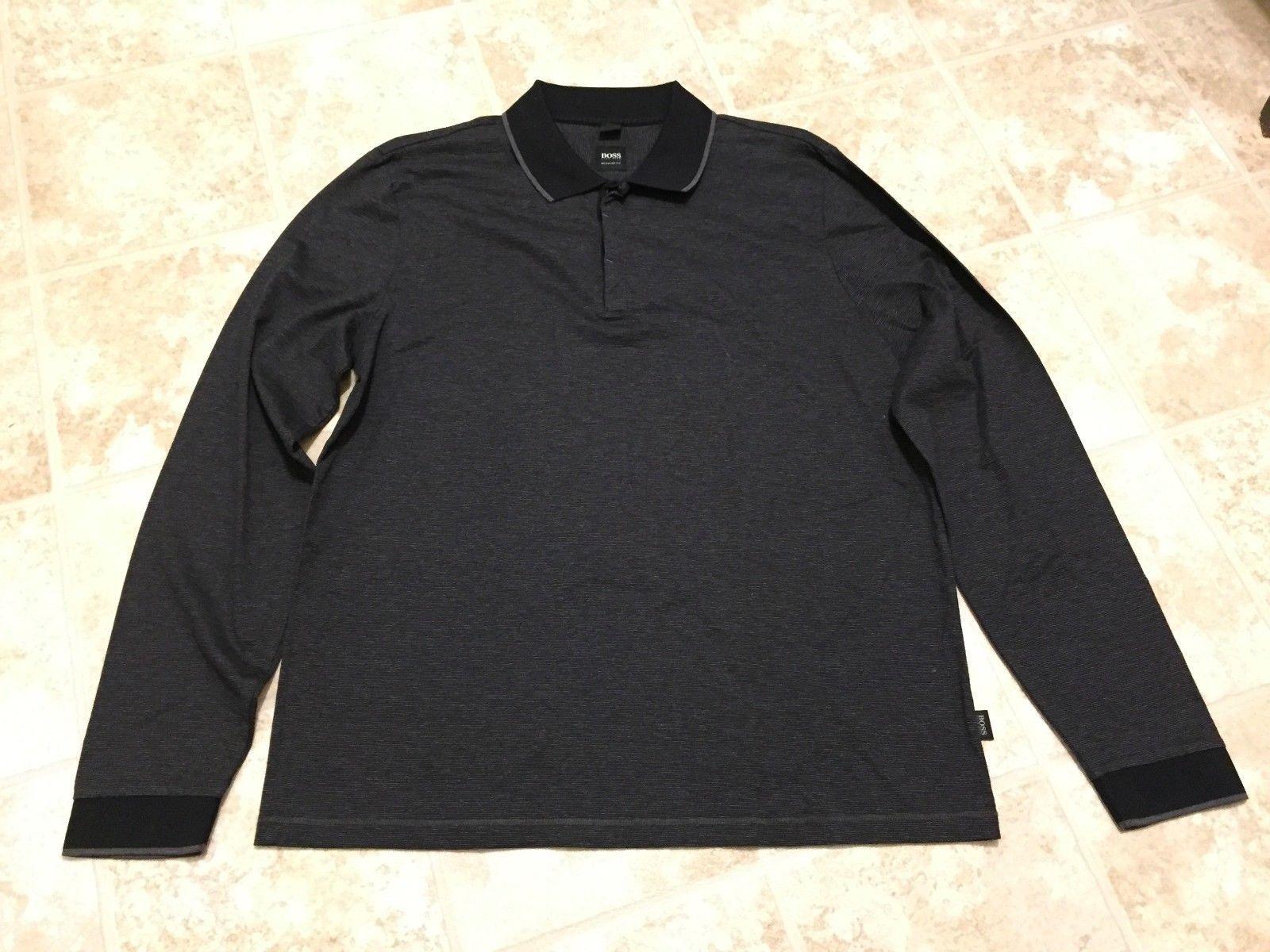 c2f31bac 57. 57. Previous. Hugo Boss Mens Long Sleeve Polo Shirt Cotton Black International  Size XL