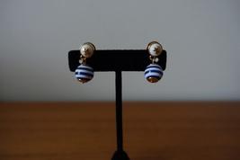 Tory Burch BLUE/WHITE Stripe Pearl T Logo Earrings. New - $45.99