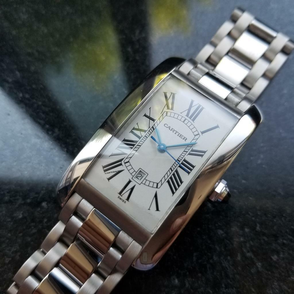 Primary image for CARTIER Mens 18K White Gold Tank Americaine XL 1741 Automatic 2000s 27x45mm ZAH1