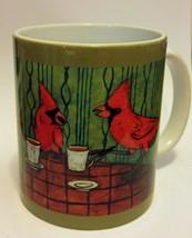 cardinal at the cafe coffee shop picture animal bird art coffee Mug 11 o... - $21.99