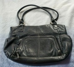 Tignanello Black Leather Shoulder Hobo Purse Bag Double straps & multipl... - $34.64