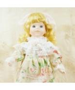"""Vintage 16"""" Porcelain Doll Blond Curls Hair Spring Dress Stand - $29.68"""