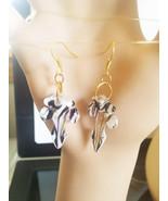 black & white glass cross earrings dangles charm zebra stripes lampwork ... - $5.50