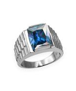 Sterling Silver Mens Square CZ December Birthstone Watchband Ring - $64.99