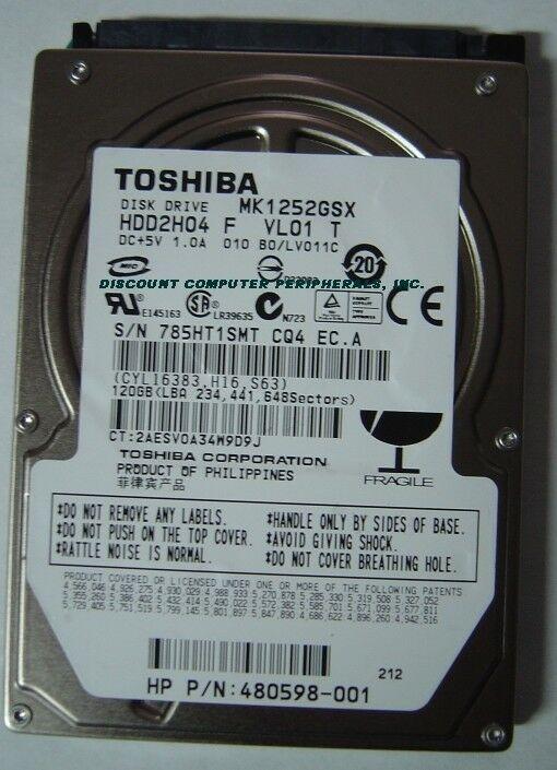 "New 120GB 2.5"" SATA Drive Toshiba MK1252GSX HDD2H04 Free USA Shipping"