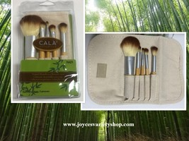 Cala Naturale Bamboo Make Up Brush Set 5 PC Pouch Travel Set image 1