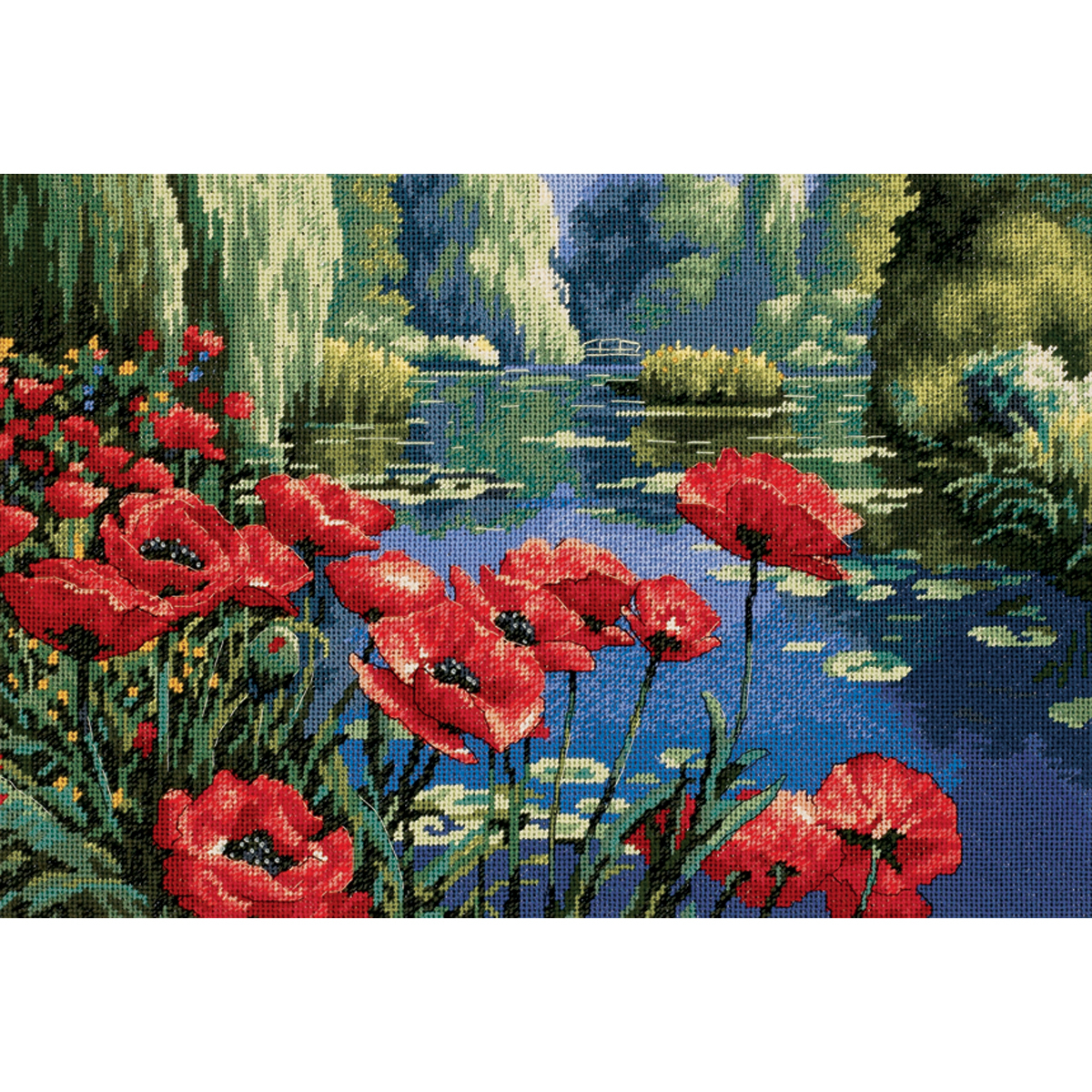 "Primary image for Dimensions Needlepoint Kit 16""X11""-Lakeside Poppies Stitched In Thread"