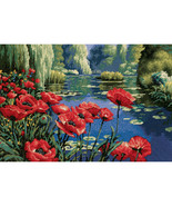 "Dimensions Needlepoint Kit 16""X11""-Lakeside Poppies Stitched In Thread - $34.52"