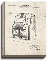 Slot Machine Game Patent Print Old Look on Canvas - $39.95+