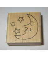 Moon Stars Rubber Stamp Smile Stampin' Up! Celestial Night Wood Mounted  - $4.45