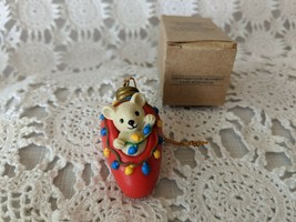 Avon The Gift Collection Christmas Cutie Ornament Light Bulb Mouse - $6.78