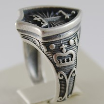 SOLID 925 BURNISHED SILVER BAND MEDIEVAL CROWN RING, SWORD ARMS, MADE IN ITALY image 2