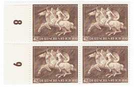 1941 Amazon Attack on Horseback Block of 4 German Stamps Catalog Number B192 MNH