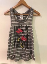 Disney Minnie Mouse Racerback Womens Gray Striped Sweater Tank Top Size M Medium - $12.95
