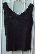 Calvin Klein ~ Women's Xl Black Embellishments Bling Shell Tank Top ~ Ships Free - $14.99