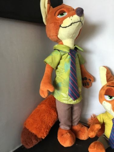 "Disney Store Zootopia NICK WILDE Sly Fox 13"" 8"" Plush Stuffed Toy Animal Set V"
