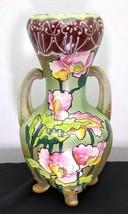 Antique Hand Painted Japanese Moriage Pottery Folk Art Vase - $45.00