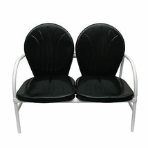 Rich Pacific Black and White Retro Metal Tulip 2-Seat Double Chair - $162.10