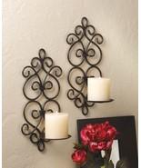 Swirling Scrollwork Wall Sconces Metal Pillar Candleholder Set of 2 - $24.99