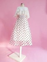 White Polka Dot Modi Skirt Outfit Summer High Waisted Plus Size Long Party Skirt image 5