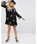 New Free People Embroidered Oxford Black Swing Bohemian Dress Size X-Sma... - $51.48