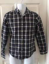 American Eagle Men's Plaid Shirt  Size XS Prep Fit L/S Button Up Navy & White  - $14.86