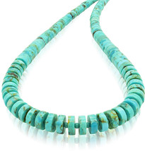 Bluejoy Genuine Natural Turquoise Graduating Heishi Necklace with Elegan... - $155.30