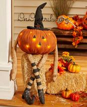 LED Pumpkin Man Outdoor Porch Decor Halloween Fall Autumn Decor - $18.99
