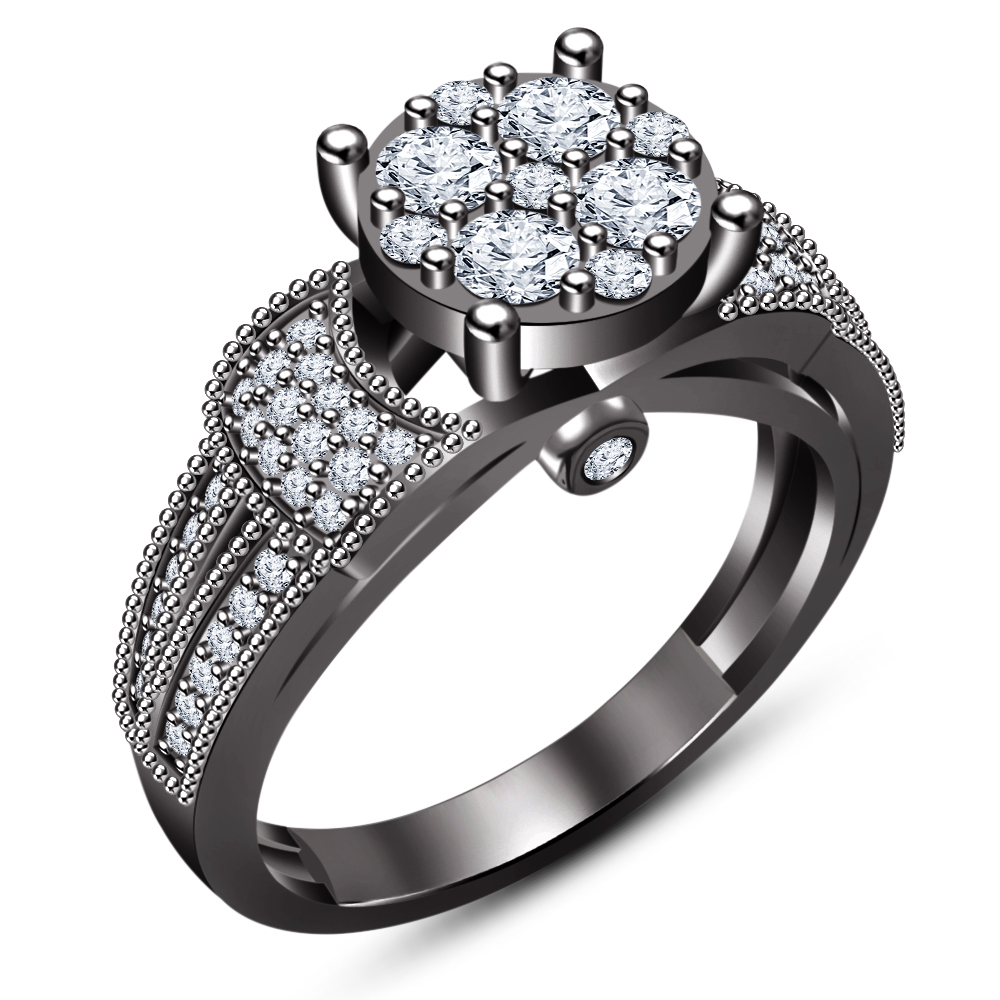 Women's Engagement Ring Bridal Set 14k Black Gold Plated 925 Silver Round Cut CZ