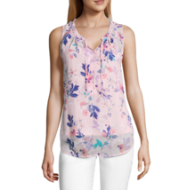 Liz Claiborne Ruffle Neck Henley Tank Top Size S New Pink Floral - $19.99