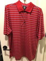 FootJoy Misty Creek Red/White/Blue Stripe Golf Polo Large L - $34.64