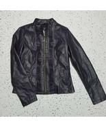 Frida G Faux Leather Women's Jacket ~ Sz M ~ Purplish ~ Lined ~ Zip Up - $24.74