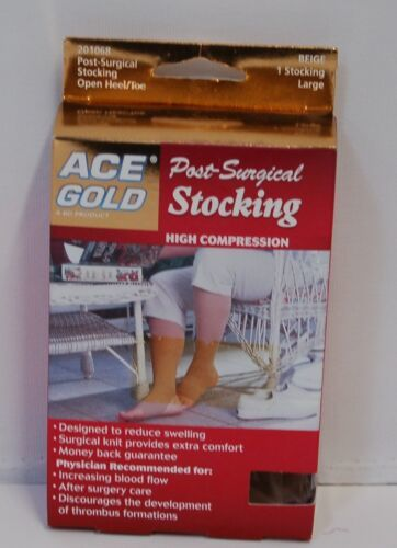Ace Gold 201068 Post Surgical Open Heel Toe Large Beige 1 Stocking