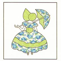 Spinning Spools Applique Parasol Girl Quilt Pattern Flexible Plastic Template - $9.99