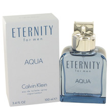 Eternity Aqua by Calvin Klein Eau De Toilette Spray 3.4 oz for Men - $55.00