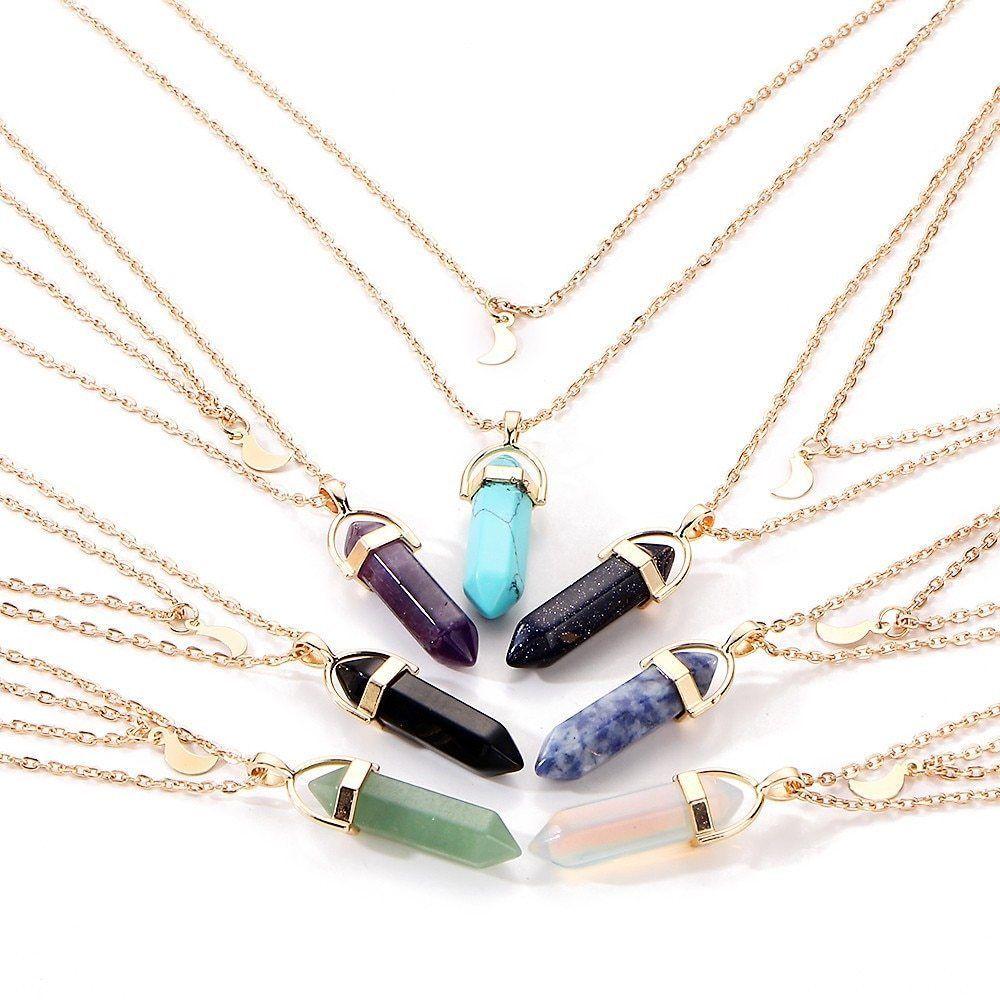 17KM® Bohemian Opal Stone Moon Choker Necklace New Fashion Charm Pendant Vintage