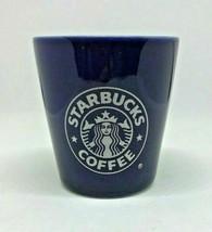 STARBUCKS COFFEE Mermaid Logo Blue Ceramic Shot Glass Bar Shooter Souvenir - $11.99