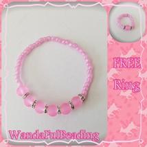 Pink Rhinestone Beaded Stretch Bracelet w/Free Ring - $5.94