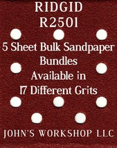 RIDGID R2501 - 1/4 Sheet - 17 Grits - No-Slip - 5 Sandpaper Bulk Bundles - $7.14