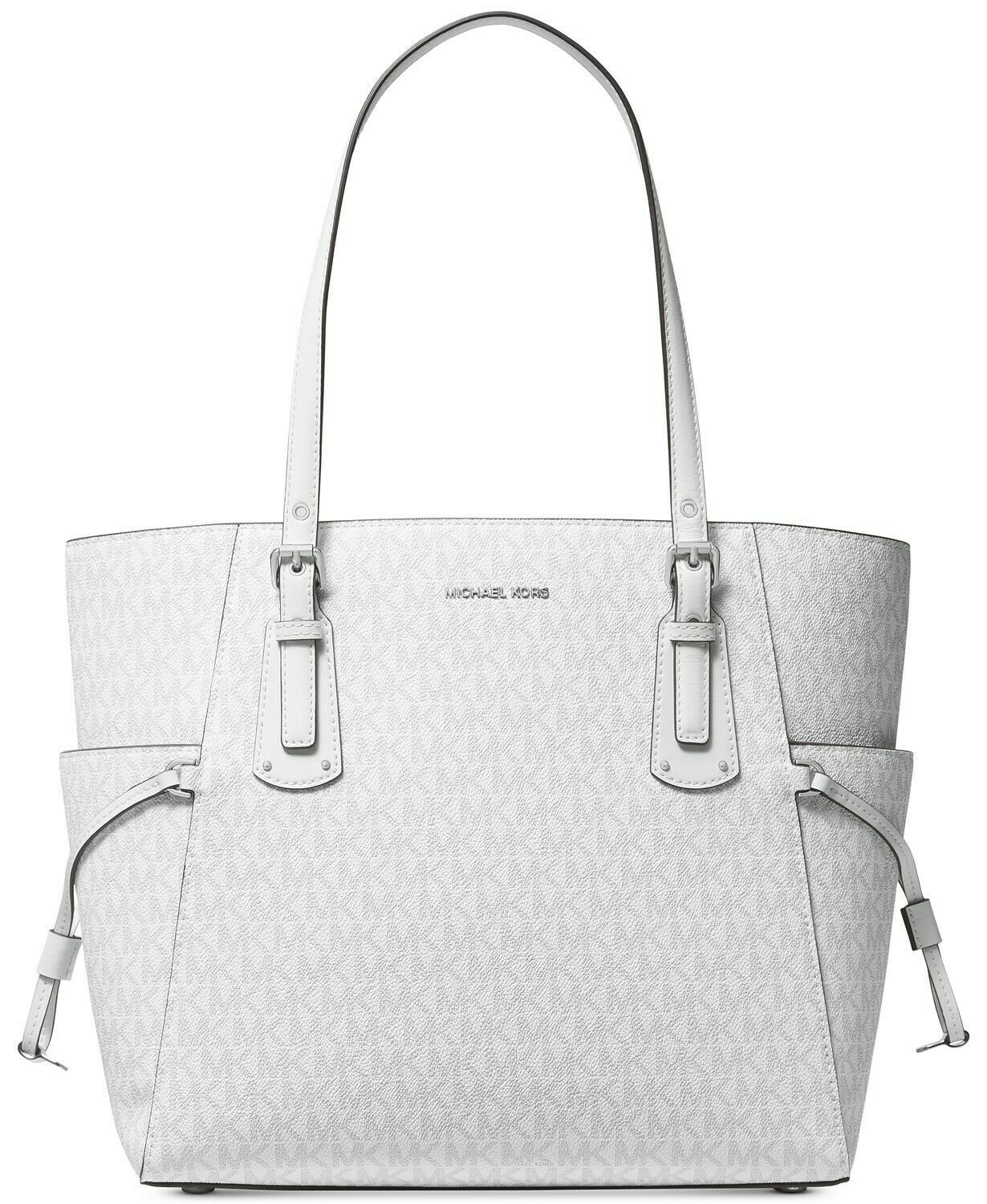NWT MICHAEL KORS VOYAGER SIGNATURE EAST WEST TOTE BRIGHT WHITE