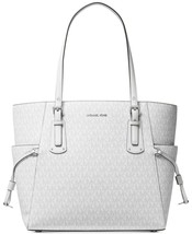 NWT MICHAEL KORS VOYAGER SIGNATURE EAST WEST TOTE BRIGHT WHITE - $145.12