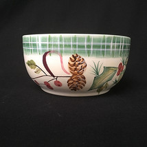 Vintage Zrike HandPainted Christmas Bowl PineCones Holly Berry Ribbon Co... - $27.72